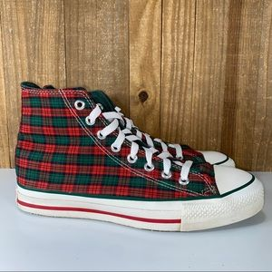Converse Made in USA Plaid Green Red Christmas Sneakers Vintage Men's size 8.5